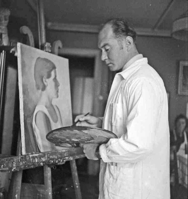 Edgar Brügger, Maler/Graphiker, malt Frauenporträt