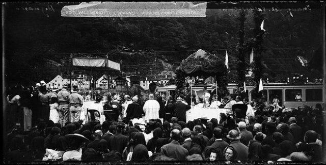 Cerimonia per l'inaugurazione della ferrovia Locarno-Ponte Brolla-Bignasco