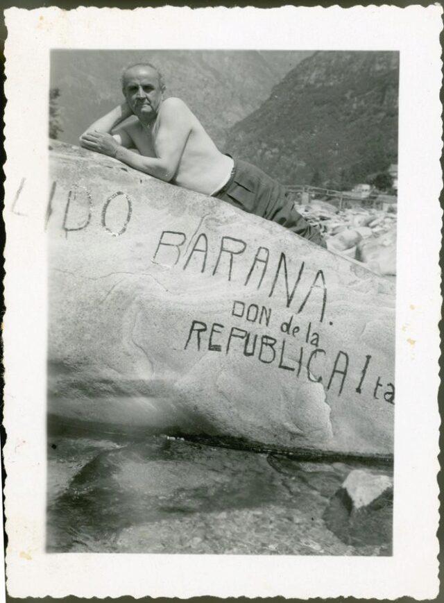 """Luigi Zappelli a Frasco. """"Lido Barana, don de la Republica Italiana"""""""