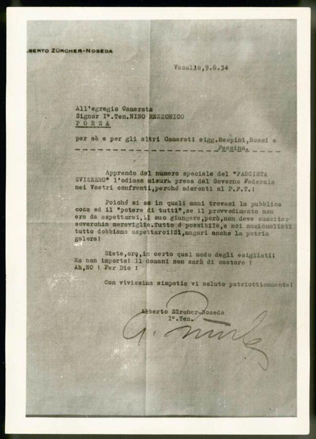 Lettera del 1° ten. Alberto Zürcher a Nino Rezzonico