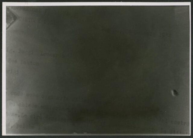 Documento della Federazione fascista svizzera fotografato alla Casa Nera di Lugano