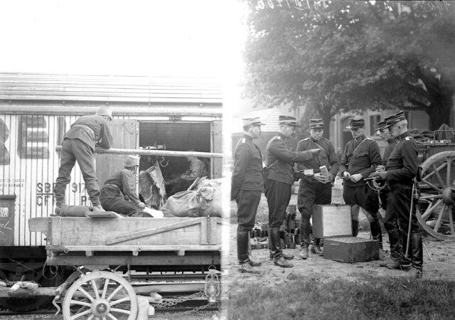 Offiziere kontrollieren Material für Schmiede