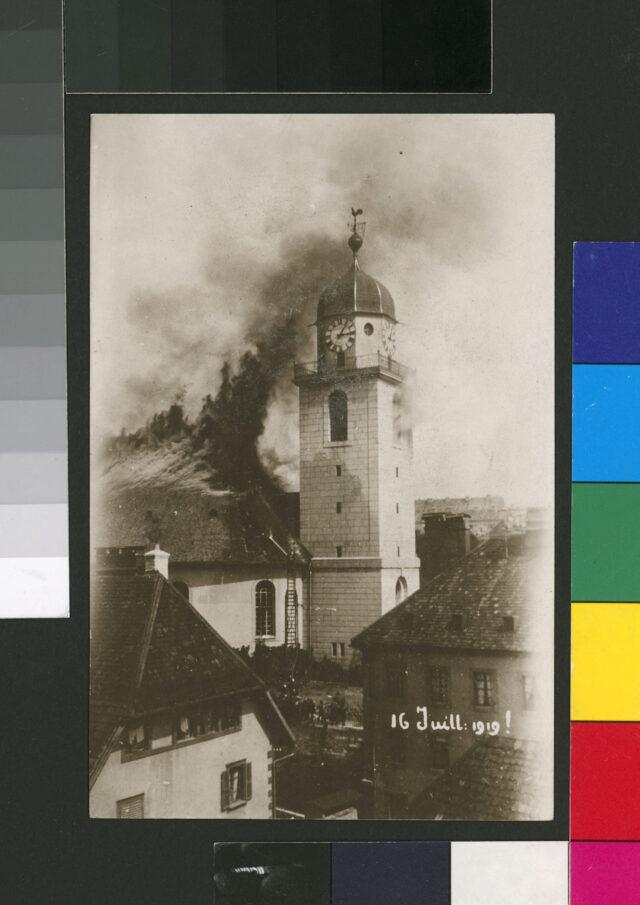 Vue de l'incendie du Grand Temple de La Chaux-de-Fonds