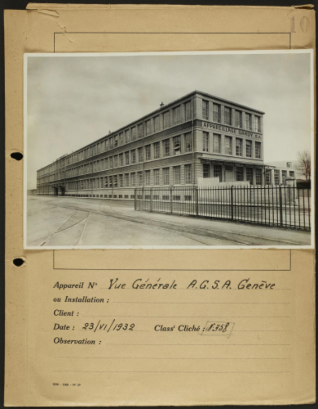 Genève, avenue de la Jonction : usine Gardy