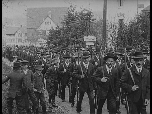 [Vierfache Fahnenweihe der Flawiler Männerchöre und Schützenvereine, 21.4.1912]