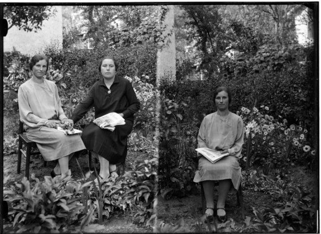 Doppio ritratto di Onorina Conceprio seduta con Ortensia Derighetti e poi seduta da sola