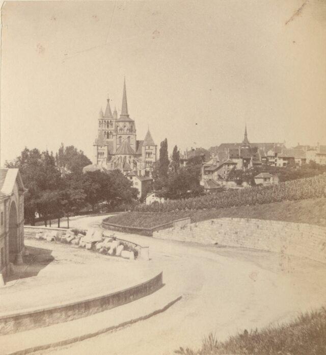 Die Kathedrale von der Strasse César-Roux gesehen, Lausanne, 1860er Jahre