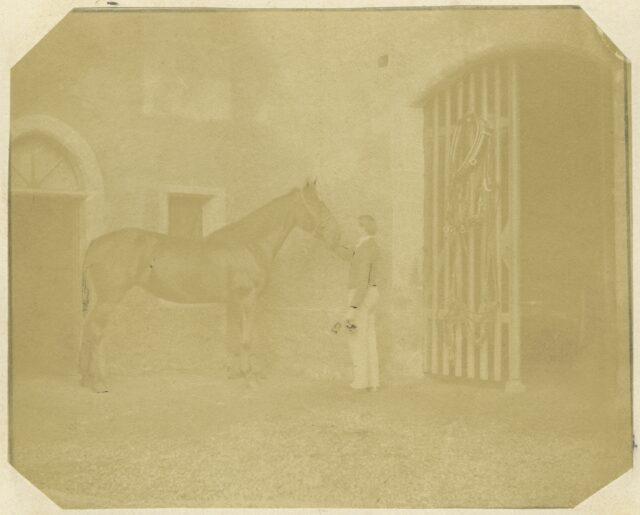 Mann mit Pferd, um 1860