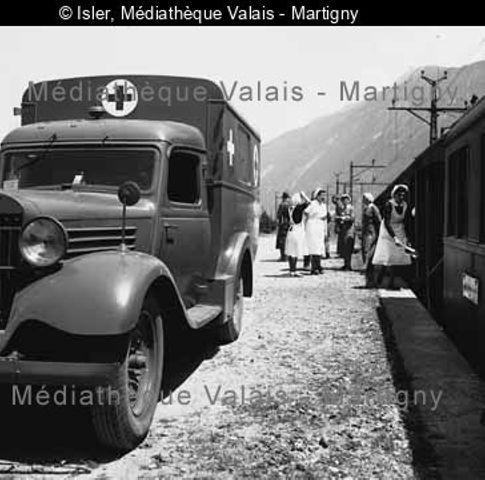 [Verwundeten Transport, Bahnhof Martigny]