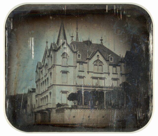 Façade sud du château de l'Aile, Vevey. [Vue inversée]