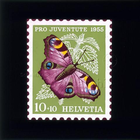 """Diaserie Briefmarken; """"Helvetia 10 +10, Pro Juventute 1955""""; Schmetterling """"Tagpfauenauge""""; im Hintergrund Brennessel; 1955"""