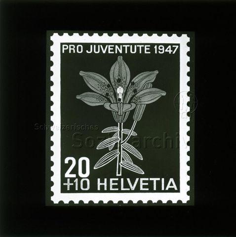 """Diaserie Briefmarken; """"Helvetia 20 +10, Pro Juventute 1947""""; Blume; 1947"""