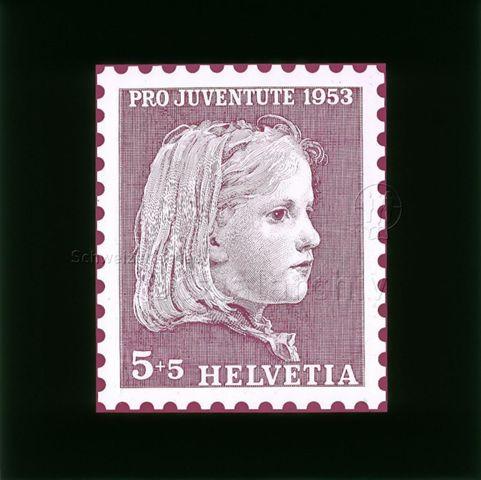 """Diaserie Briefmarken; """"Helvetia 5 +5, Pro Juventute 1953""""; Zeichnung: Porträt eines Mädchens; 1953"""
