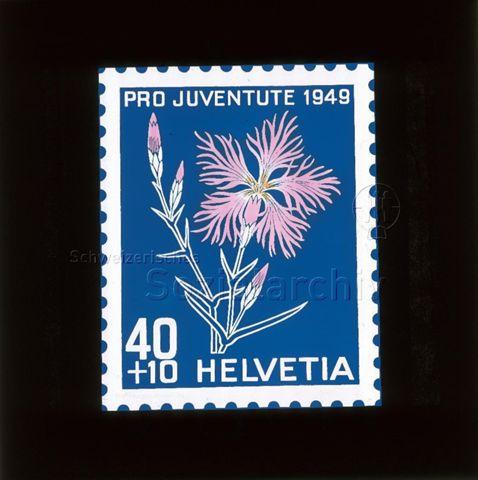 "Diaserie Briefmarken; ""Helvetia 40 +10, Pro Juventute 1949""; 1949"