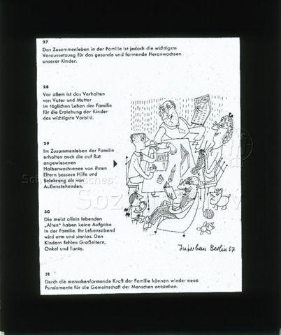 """Diaserie zu Spielplätzen; """"Interbau Berlin - Die Familie gehört zusammen; Das Zusammenleben in der Familie ist jedoch die wichtigste Voraussetzung für das gesunde und formende Heranwachsen unserer Kinder."""" - Comiczeichnung: Familienmitglieder sitzen zusammen an einem Tisch; 1957"""