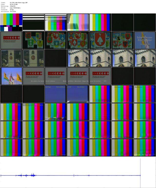 Rohschnitt (Masterband): Abspann Sondersendung des Schaffhauser Fernsehens von der Schaffhauser Zentralfeier in der Kirche St. Johann